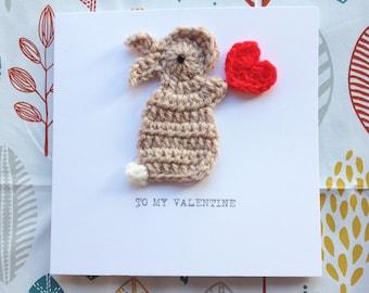 Valentine Bunny & Heart  Crochet Greeting Card, Cute Valentine, Bunny Valentine