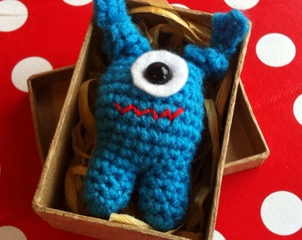 Monster in a Box Handmade Crochet Toy, Monster Toys, Stocking Fillers, Cute Gifts
