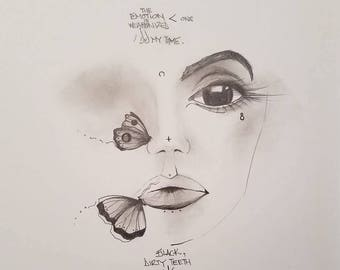 The Emotion is Weaponized Less Than One, Original Drawing, Handmade, Fine Art, Butterflies, Free Shipping