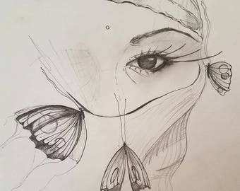 Intention of the Butterflies, Original Drawing, Handmade, Fine Art, Butterflies, Free Shipping
