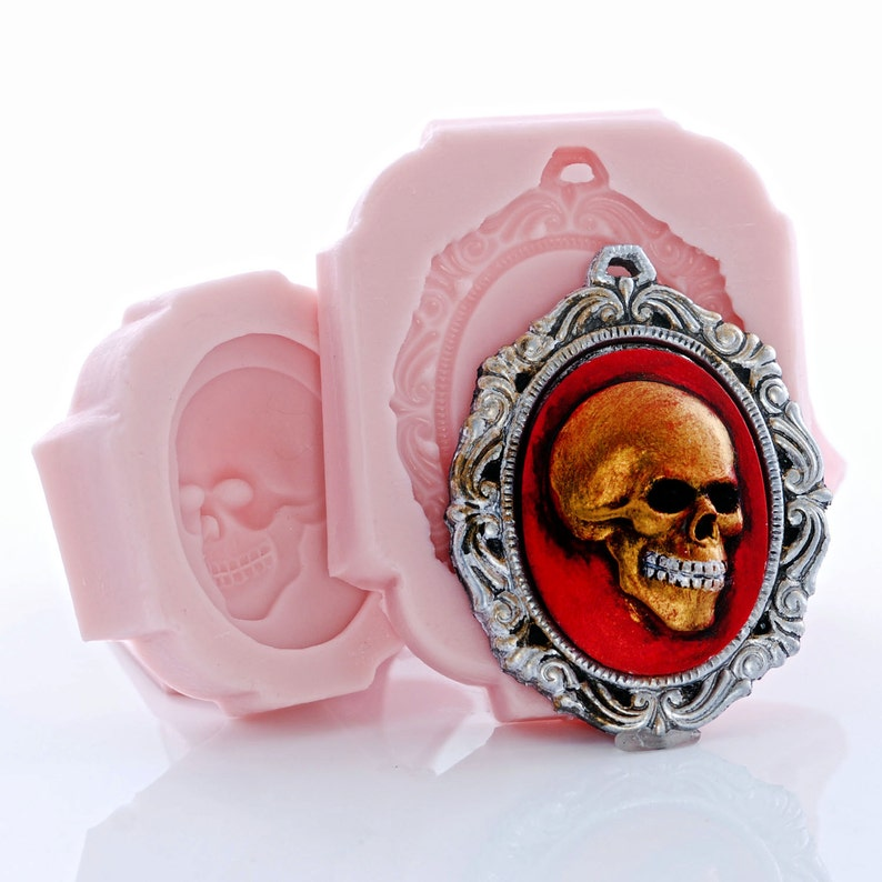 Food Safe Fondant Silicone Molds Skull Day of the Dead Cameo and Cameo Mount Mold Set Jewelry Resin Metal Epoxy Wood Clay Wax 270