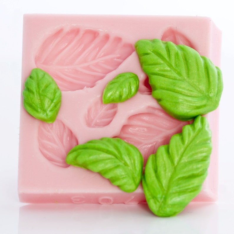 resin casting mold mold five leaves at one time gum paste mold Mold silicone leaf candy mold clay mold fondant mold 703