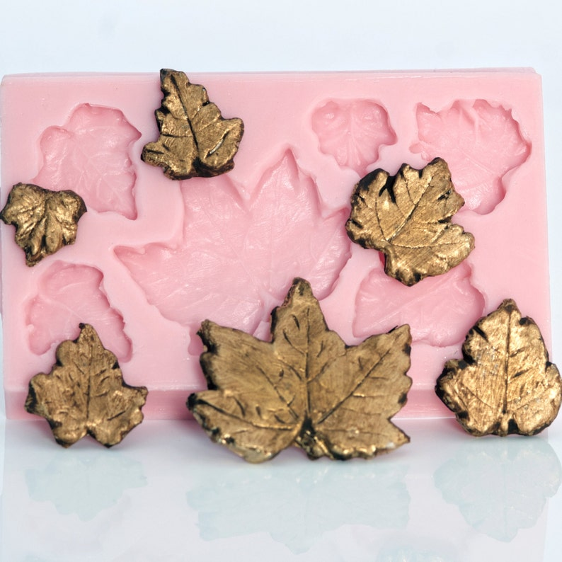 make your own leaves with this resin leaf mold metal leaf mold 713 Polymer leaf mold metal clay left mold