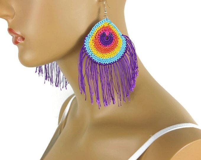 Crochet Earrings Boho Peacock Earrings,Earrings Crochet Boho Chic Large Earrings Crochet Dangle Earrings
