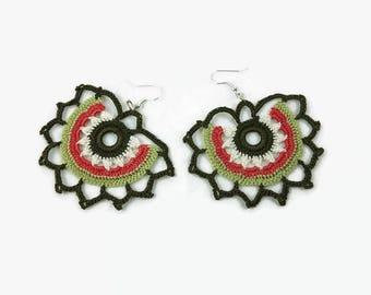 Colorful Motif Earrings, Crochet Earrings,Boho Chic, Gypsy Earrings, Oya Earrings, Ethnic Earrings, Fiber Earrings, Crochet Jewelry
