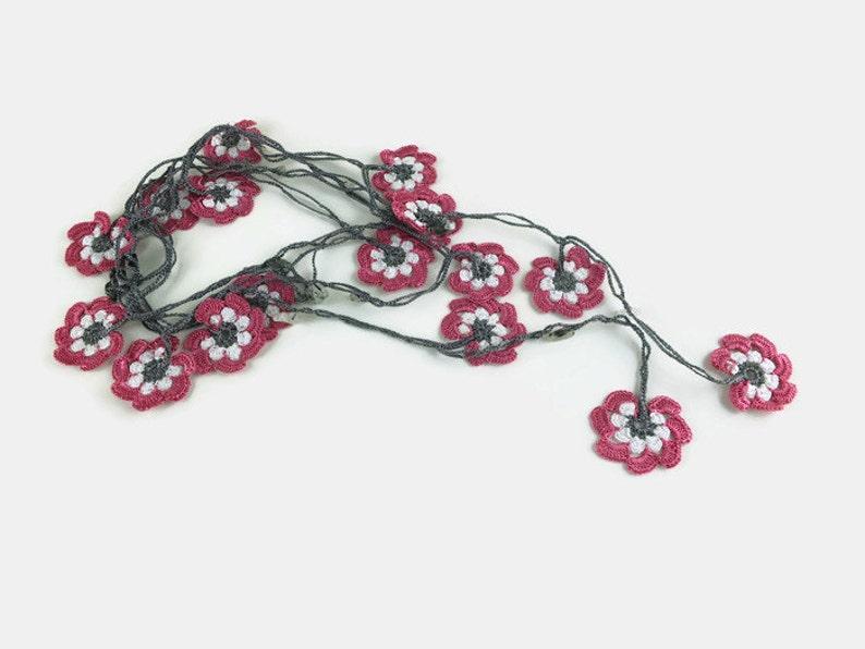 Gift for Her Light Pink Crochet Floral Necklace Floral Necklace Crochet Jewelry Infinity Necklace Crochet Necklace Gift for Mom,