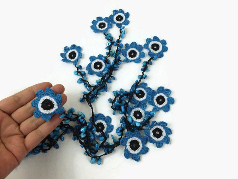 dark blue Oya Flower Necklace Turkish Oya Long Wrap Necklace Beaded Lariat Necklace Gift for Her Crochet Floral jewelry