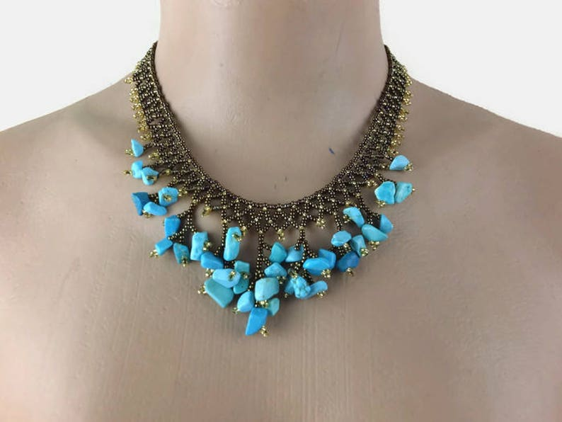 Beaded Necklace Beadwork Necklace Beaded Choker Blue And Brown Turkish Jewelry Gift For Her Christmas Gift