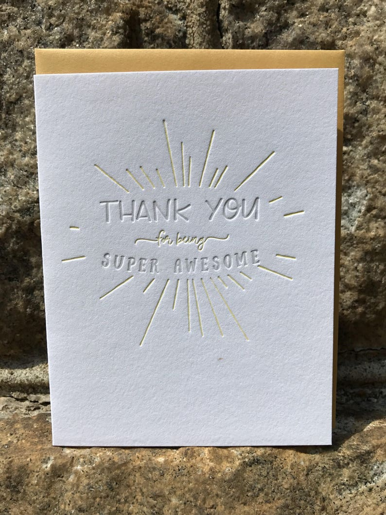 Thank You for Being Super Awesome Letterpress Greeting