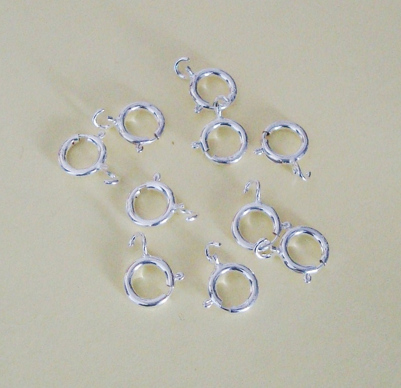 10 Pieces Spring Ring Clasps with Open Ring 5.5mm Sterling Silver .925 SCL500
