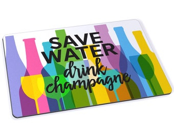 Save Water Drink Champagne Mousepad - 7.75 x 9.25