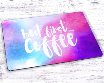 But First Coffee Watercolor Mousepad - 7.75 x 9.25