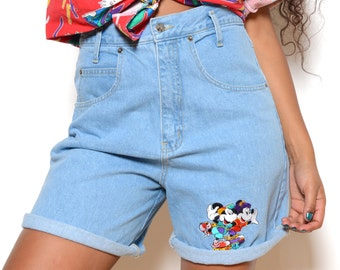 Vintage 80's Mickey Mouse Rollerblading High Waisted Denim Shorts Sz 33W