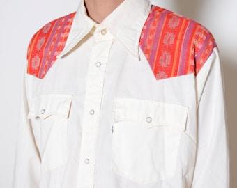 Vintage 70's LEVIS Western Button Up Shirt Sz XL