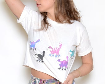 Vintage 80's Cool Cats Cropped Graphic T-Shirt Sz S/M