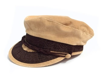 bf9b5b9887a Vintage 80 s Tan Corduroy Captains Hat Sz S