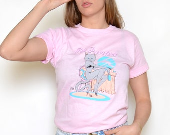 Vintage 80's I'm Purrfect Naughty Kitty Graphic T-Shirt Sz S/M