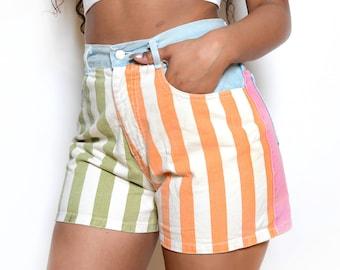 Vintage 80's Striped Denim High Waisted Shorts Sz 28W