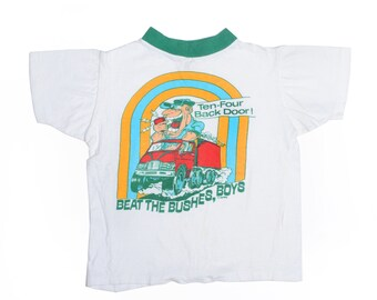 Vintage 80's TODDLERS Trucker Graphic T-Shirt Sz M(12-14)