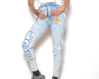 Vintage 80's Acid Wash Peace, Love, & Happiness High Waisted Jeans Sz 27W