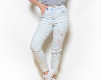 Vintage 80's Acid Washed & Lace Cut-Out High Waisted Jeans Sz 30W