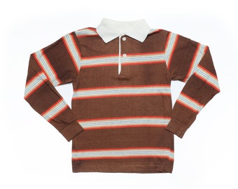 7da525390 Vintage 70's Basic Brown Striped Polo Shirt Sz S