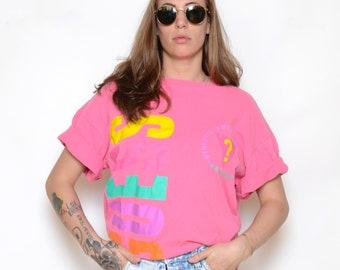 Vintage 80's Oversized GUESS Graphic T-Shirt Sz L