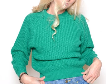 Vintage 80's Cropped Chunky Cable Knit Sweater Sz XS