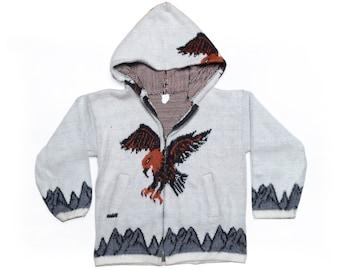 9beb567bb023 Vintage 80 s KIDS Knit Spread Eagle Hoodie Sz L