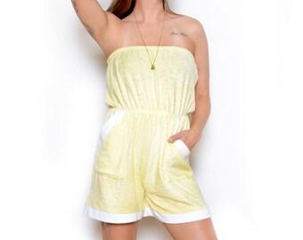 1a7abd991e Vintage 80 s Pastel Terry Cloth Tube Top Romper Sz M L