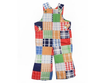 Vintage 60's TODDLERS Patchwork Plaid Overall Jumper Sz 3T