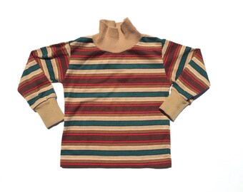 38f150917 Vintage 80's TODDLERS Brown Striped Turtleneck Shirt Sz 4T