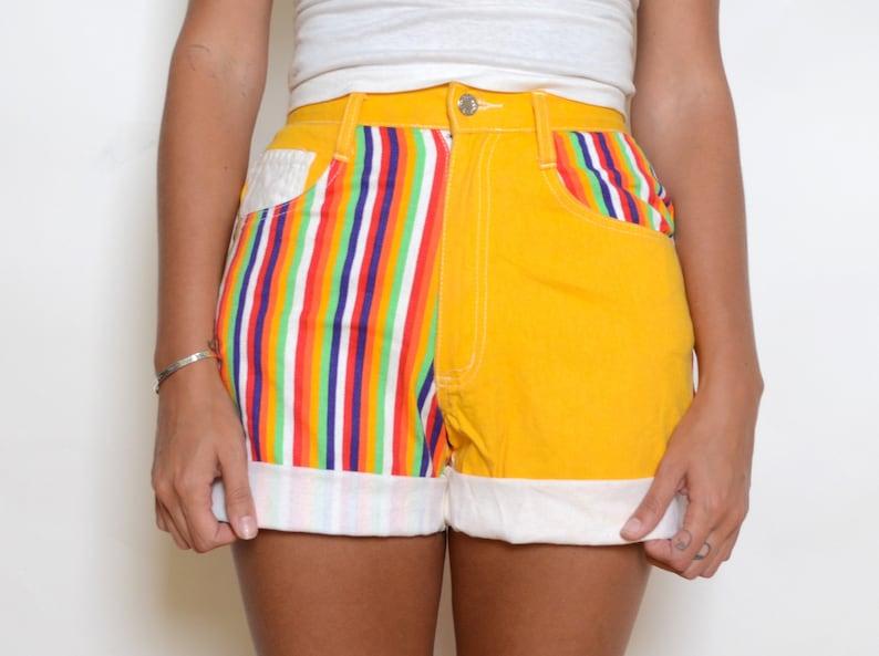 Vintage 1980/'s Rainbow Striped Jean Shorts Sz 26W