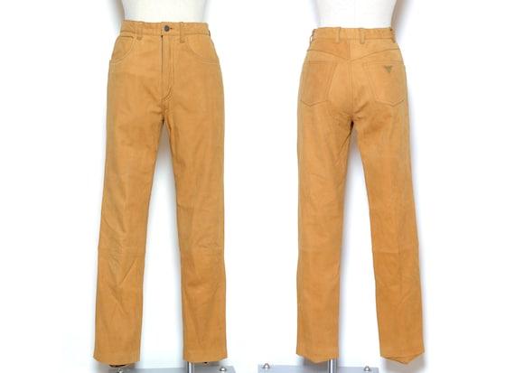 Vintage 80's Brown LEATHER GUESS Pants Sz 27W