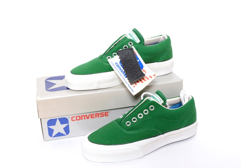 ff110240a427 Vintage 1980s Converse Skidgrip Green Canvas Sneakers Womens