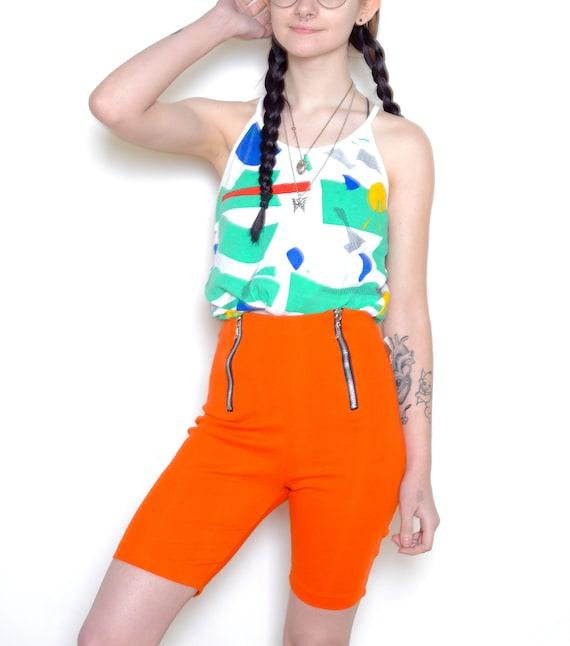 Deadstock 90's Zippered Orange Bike Shorts Sz S