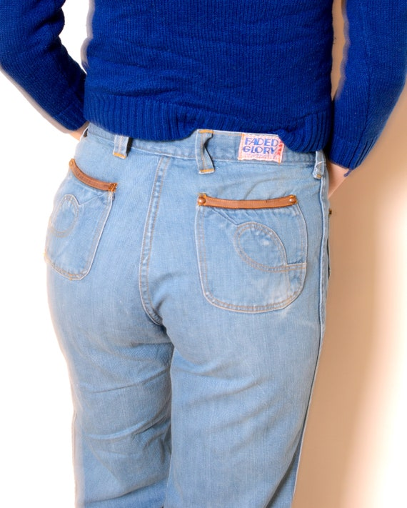 Vintage 70's Faded Glory Cropped Bell Bottom Jean… - image 5