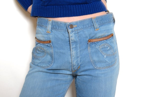 Vintage 70's Faded Glory Cropped Bell Bottom Jean… - image 6
