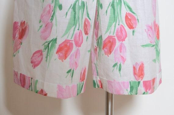 Vintage 80's Tulip Print Culotte Shorts Sz 28W - image 3