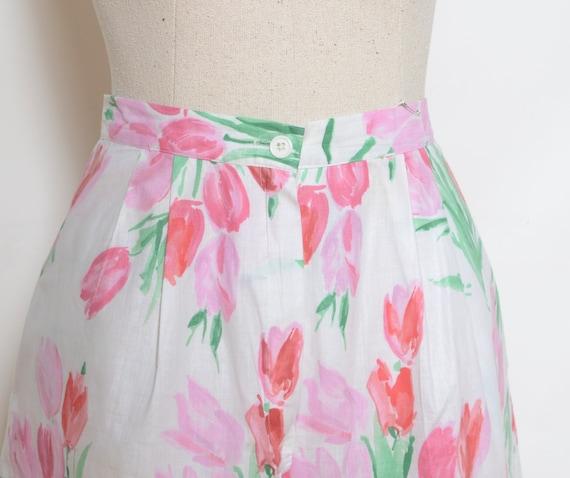Vintage 80's Tulip Print Culotte Shorts Sz 28W - image 2