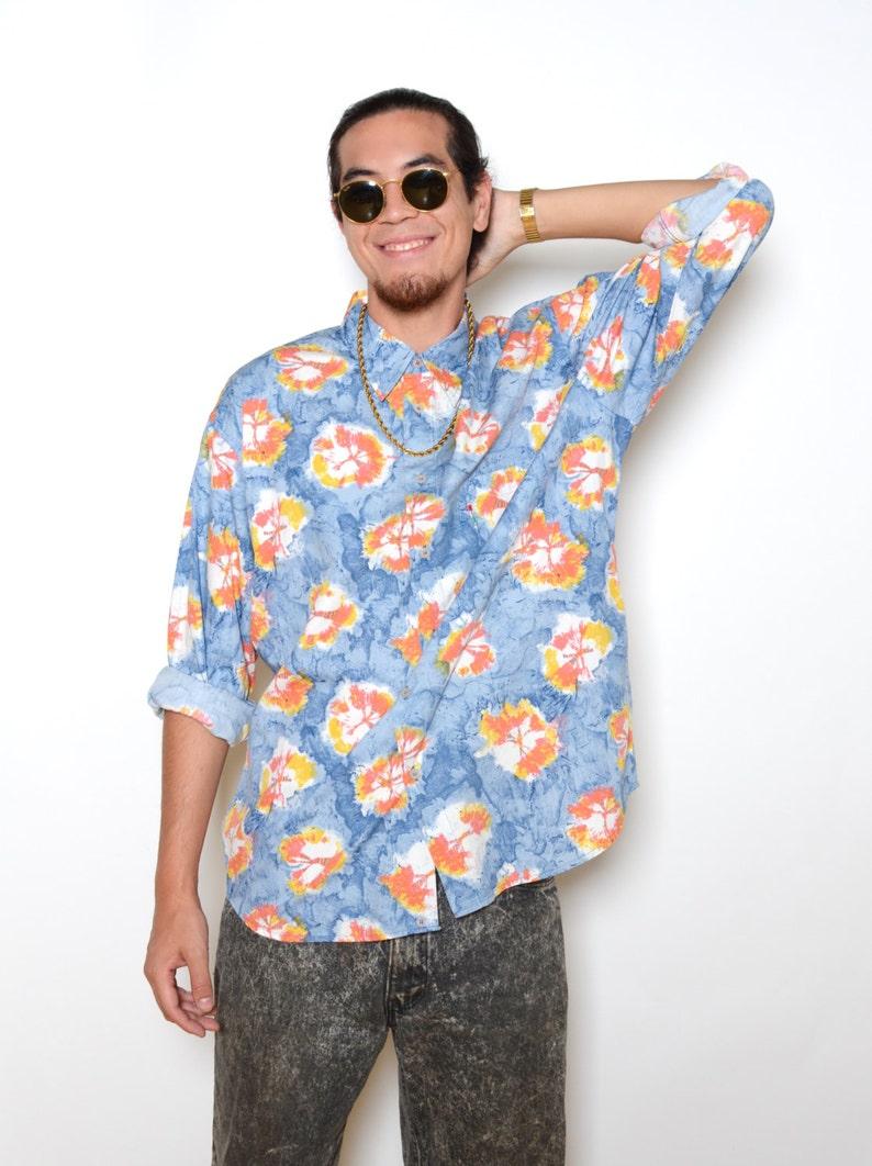 Vintage 80/'s MOSCHINO Tie Dye Print Button Up Shirt Sz XXL