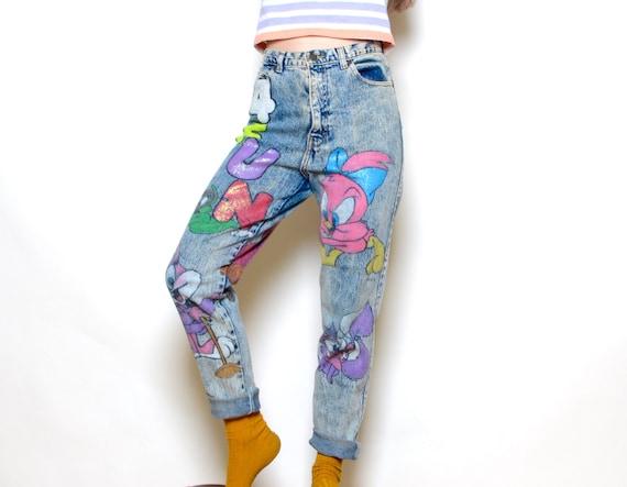 Vintage 90's 4 Fun Painted Denim Cartoon Jeans Sz