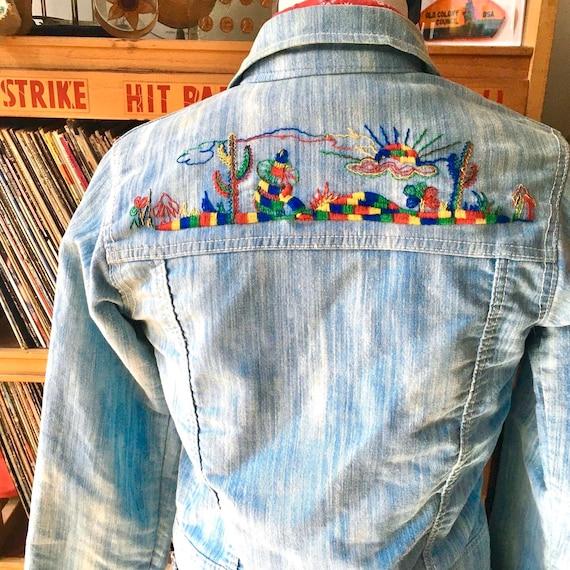 Vintage 70's Rainbow Desert Cactus Embroidered Den