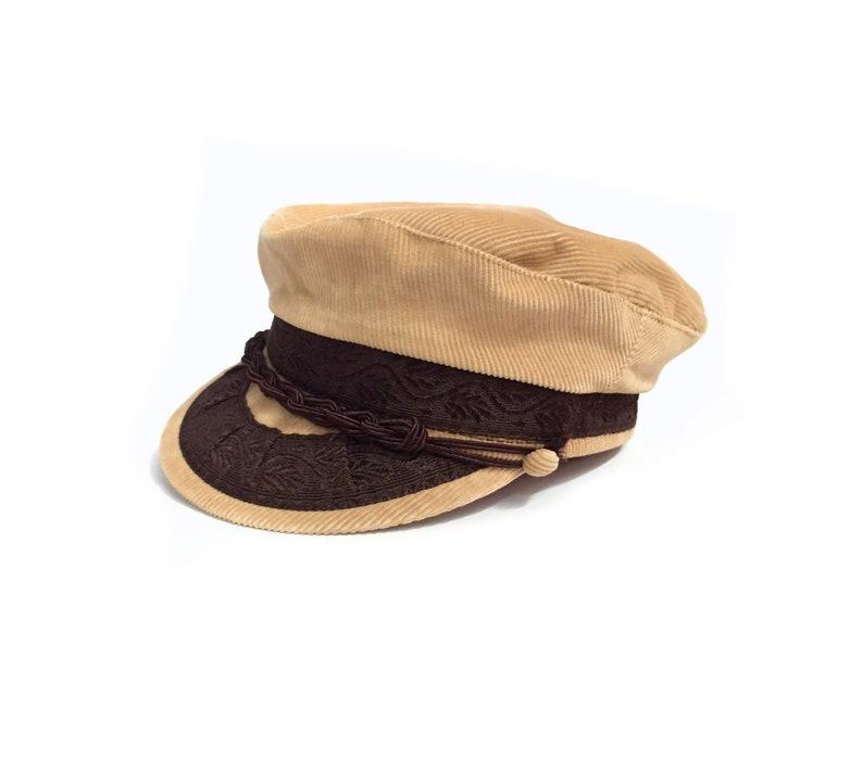 Vintage 80's Tan Corduroy Captains Hat Sz S