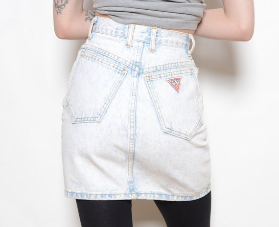 Vintage 80's GUESS Acid Wash Denim Skirt Sz 24W