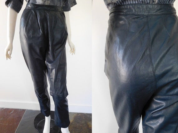 High waisted 80s Leather Pants
