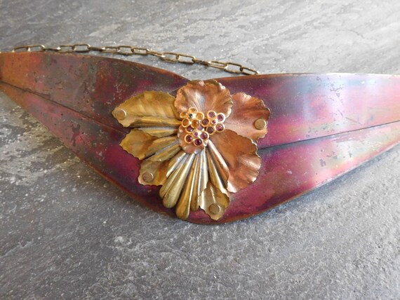 Vintage metal flower 80s Cinch Belt