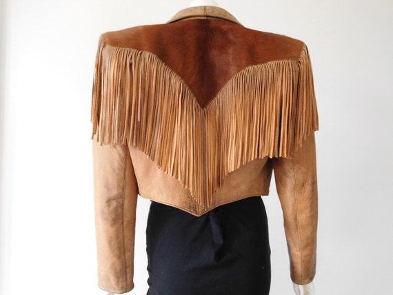 Vintage Fringed Tan Leather Jacket // 10 - 12 AU