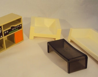 Fisher Price Doll House Furniture,  Living Room, 1977, 4 pieces