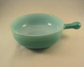 Glasbake onion soup bowl, green, 1950's